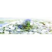 Centre névralgique de l'Expo 2025, le Village Global accueillera le plus grand globe terrestre jamais réalisé (127 m de diamètre).