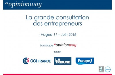 """Baromètre """"La grande consultation des entrepreneurs"""" – OpinionWay/CCI pour La Tribune et Europe 1"""
